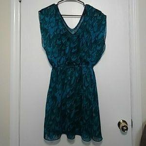 Blue Teal Express Dress Sheer Layer Black Liner S